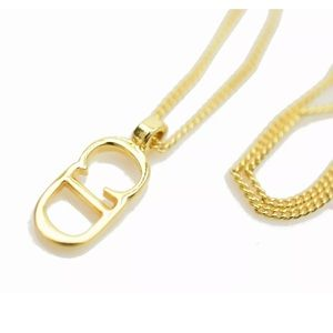 Christian Dior Pendant Necklace Goldtone CD Logo